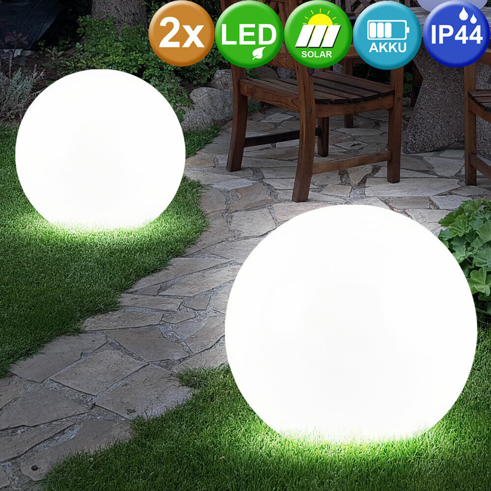 2er set led solar garten kugel leuchte 30cm 4x led lampe beleuchtung erdspie ebay. Black Bedroom Furniture Sets. Home Design Ideas