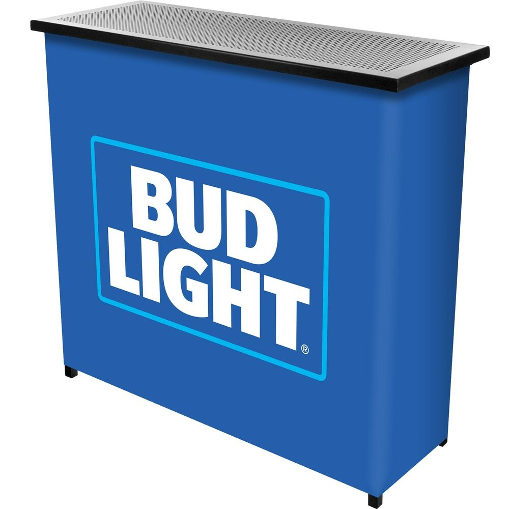 Bud Light Metal 2 Shelf Portable Bar Table W Carrying