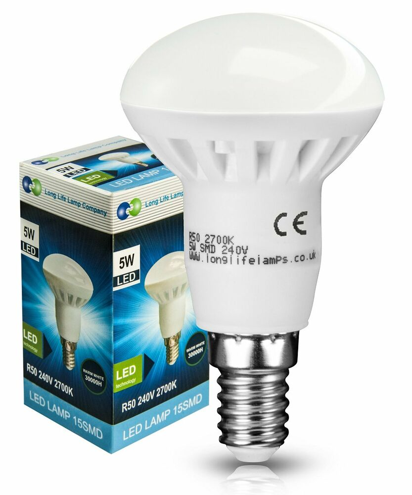 4 x r50 led 5w e14 reflector light bulb warm white energy saving very bright ebay. Black Bedroom Furniture Sets. Home Design Ideas