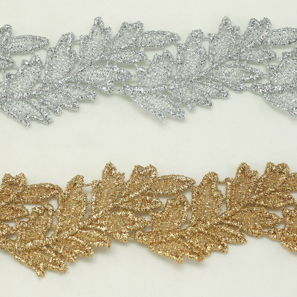 Leaf metallic embroidered venise lace trim bridal