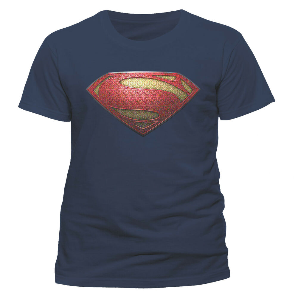 Official superman man of steel textured logo t shirt mens for Man of steel t shirt online