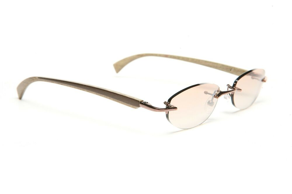 Rimless Gold Eyeglass Frames : GOLD AND WOOD RIMLESS EYEGLASSES GLASSES SUNGLASSES R10.28 ...