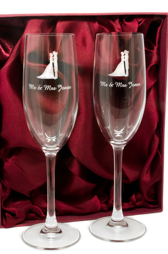 Personalised Pair Of Mr And Mrs Champagne Glasses Flutes Engraved