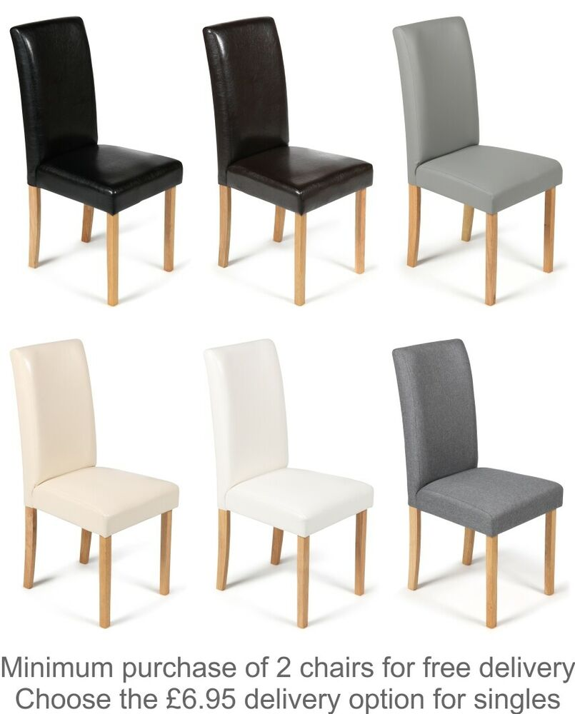 faux leather dining chairs black brown cream grey or white with oak
