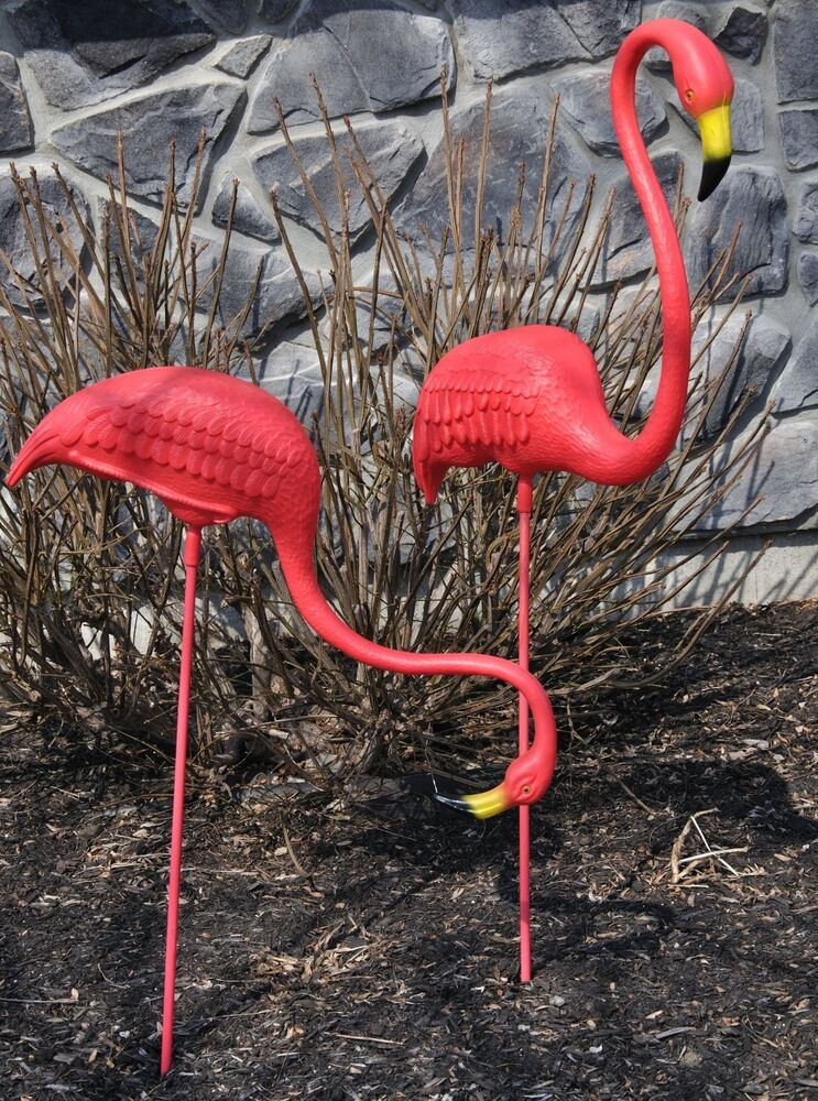 2 Giant Pink Flamingos Don Featherstone Lawn Ornament Ebay