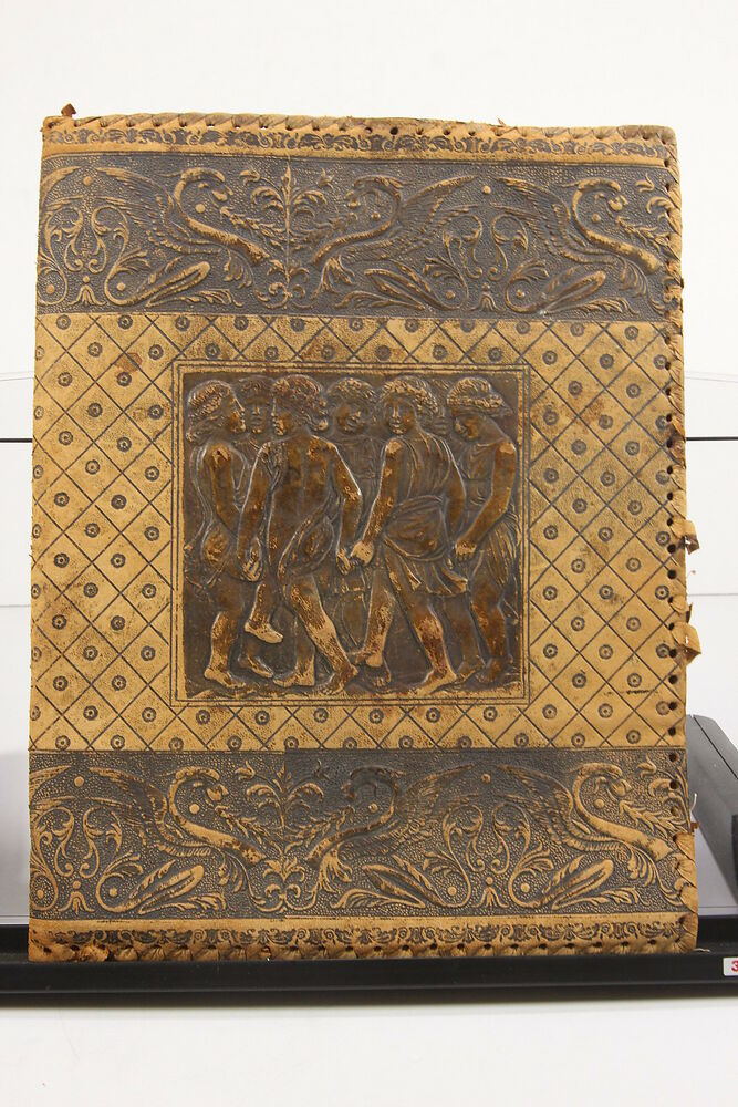 Vintage Leather Book Cover : Antique hand tooled italy worn leather book cover