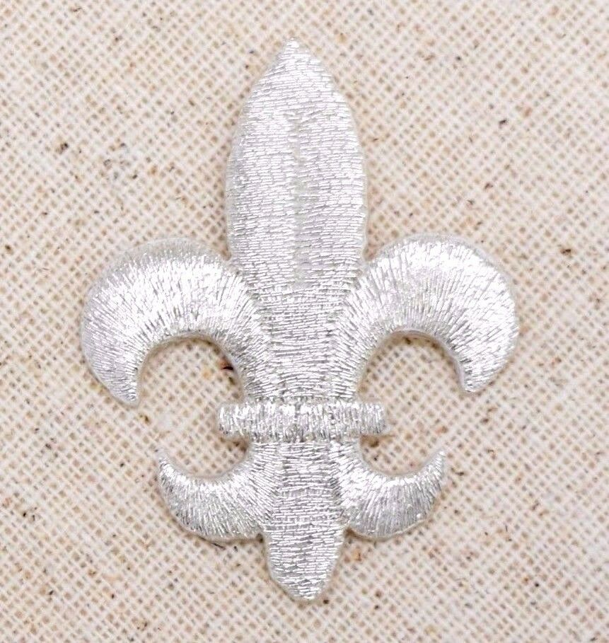 Iron On Embroidered Applique Patch Metallic Silver Fleur