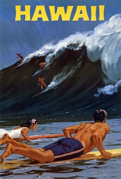 TX237 Vintage 1950's Hawaii surfing Travel Poster Re-Print