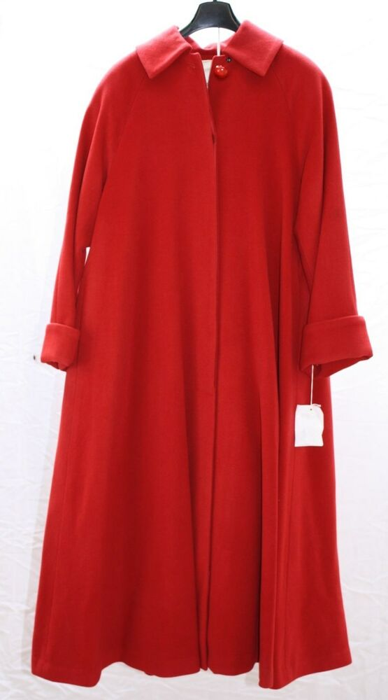 Womens Cashmere Wool Hot Red Full Length Winter Coat Swing ...