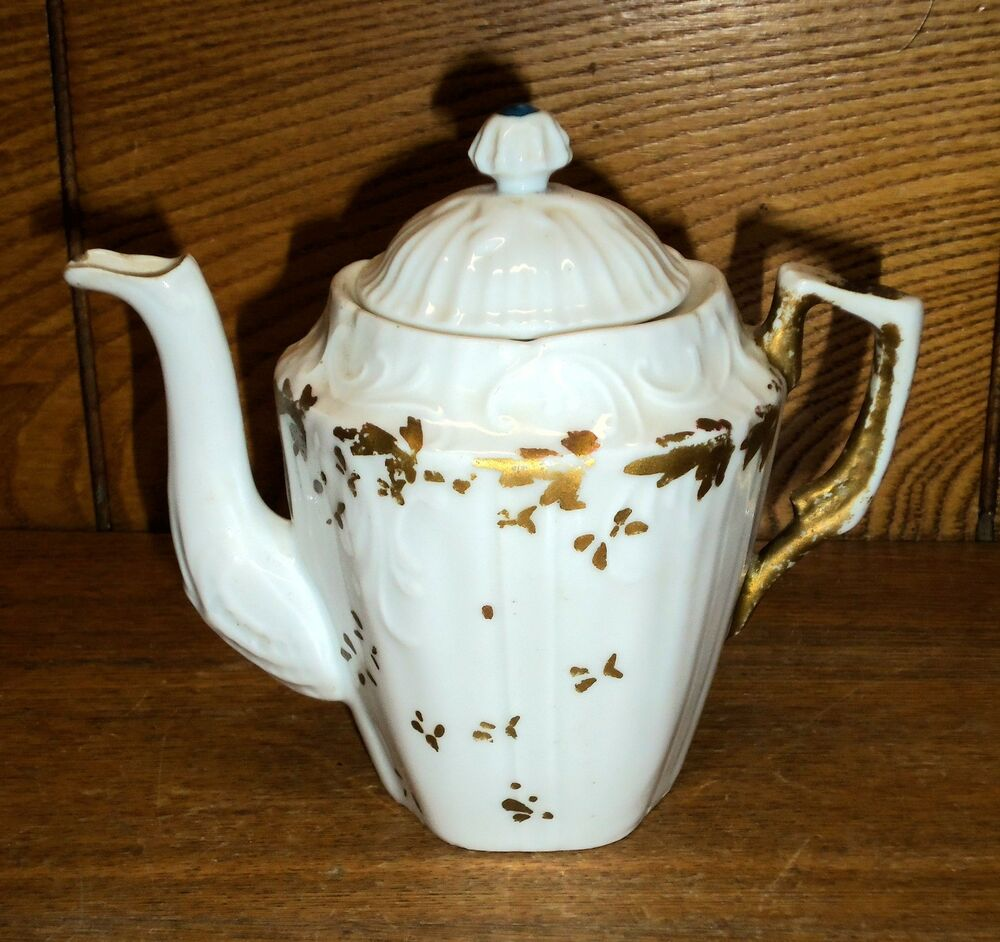 Antique Small Demitasse Or Doll Porcelain Teapot Or Coffee
