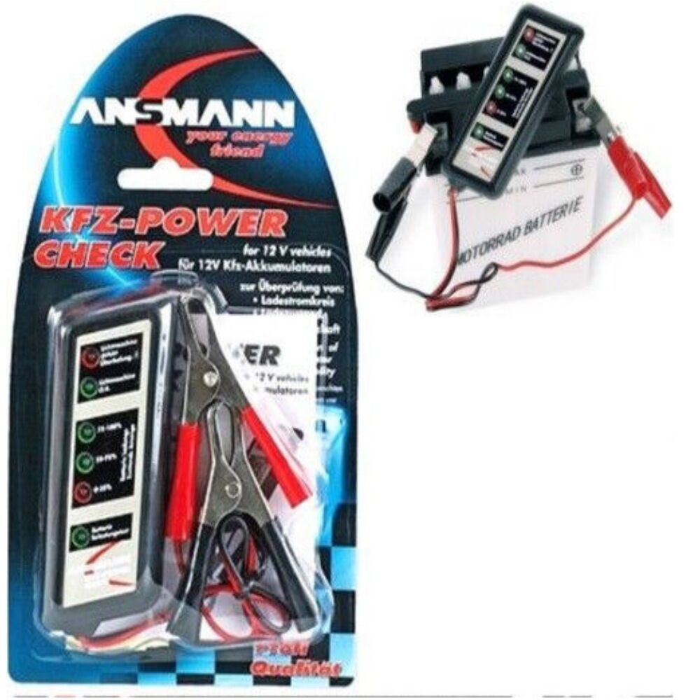 ansmann kfz power check car 12v battery tester checker new free post 12 volt ebay. Black Bedroom Furniture Sets. Home Design Ideas