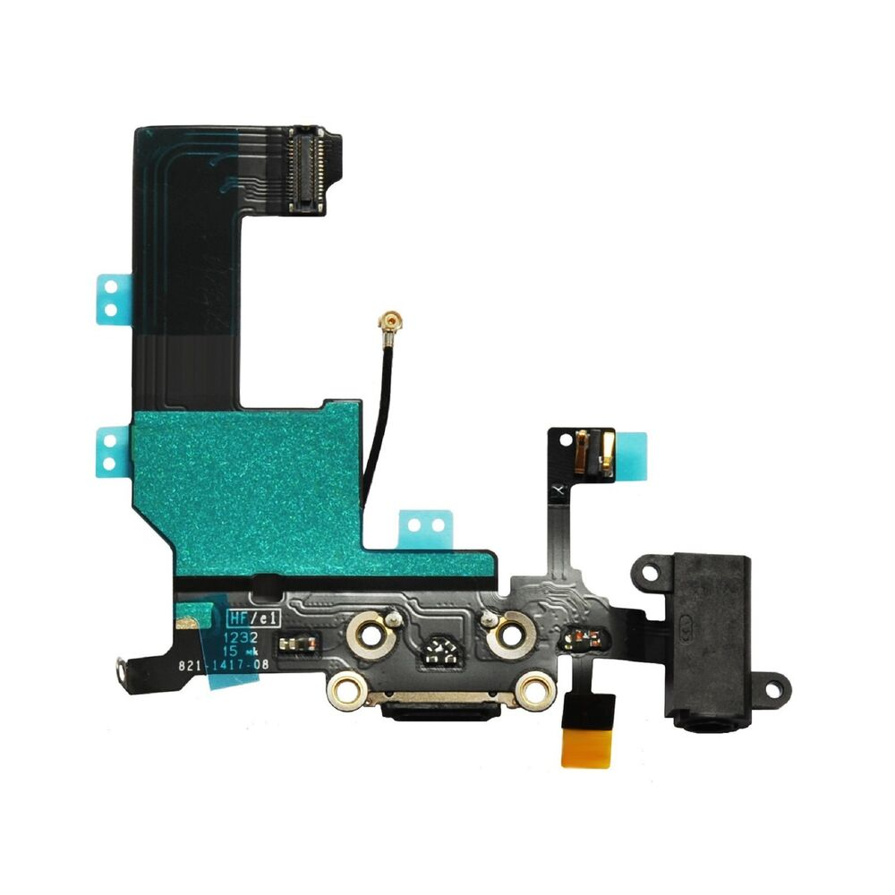 iphone 5 charging port charger dock flex cable connector plug replacement black ebay. Black Bedroom Furniture Sets. Home Design Ideas