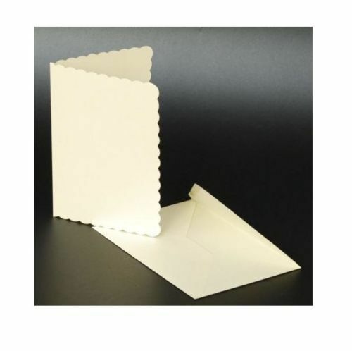 """50 IVORY SCALLOPED 5"""" x 7"""" BLANK CARDS 270gsm & ENVELOPES ..."""