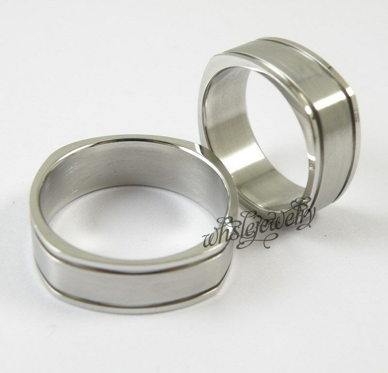 Stainless Steel Mens Wedding Band Ring 8mm: Men's Classic Square 8mm Width 316L Stainless Steel