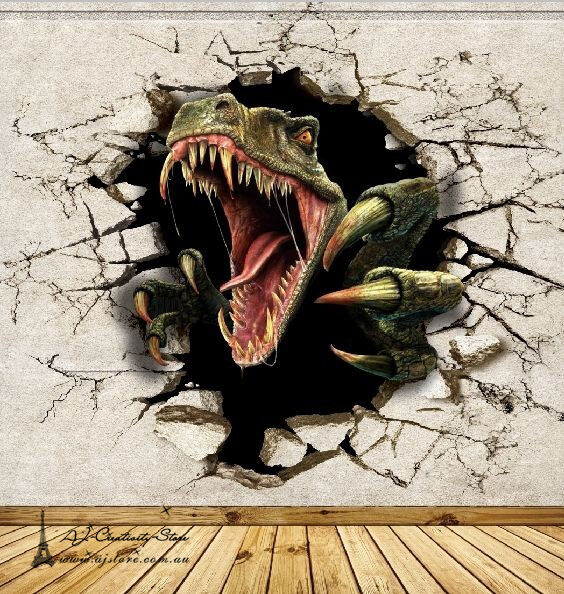 3d dinosaur break thr wall paper wall print decal wall for Dinosaur mural ideas
