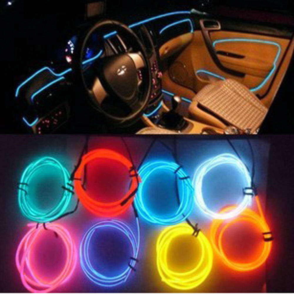 1m 12v el wire car ambient lighting inside vehicle cold light car decoration ebay for Led lighting for cars interior