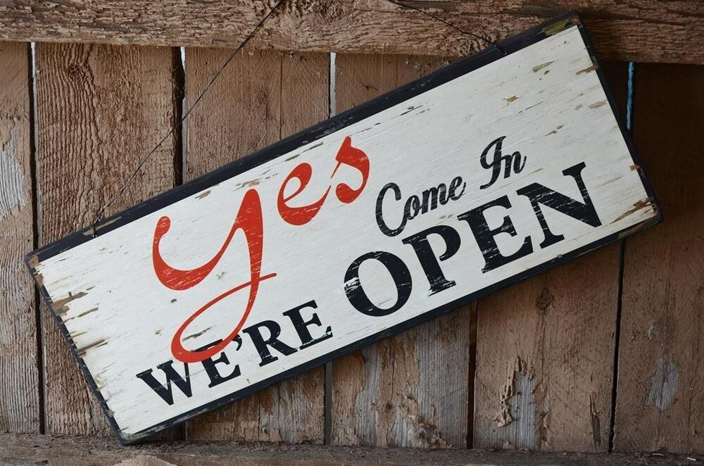 Yes We Re Open No We Re Closed Distressed Large Wood Sign