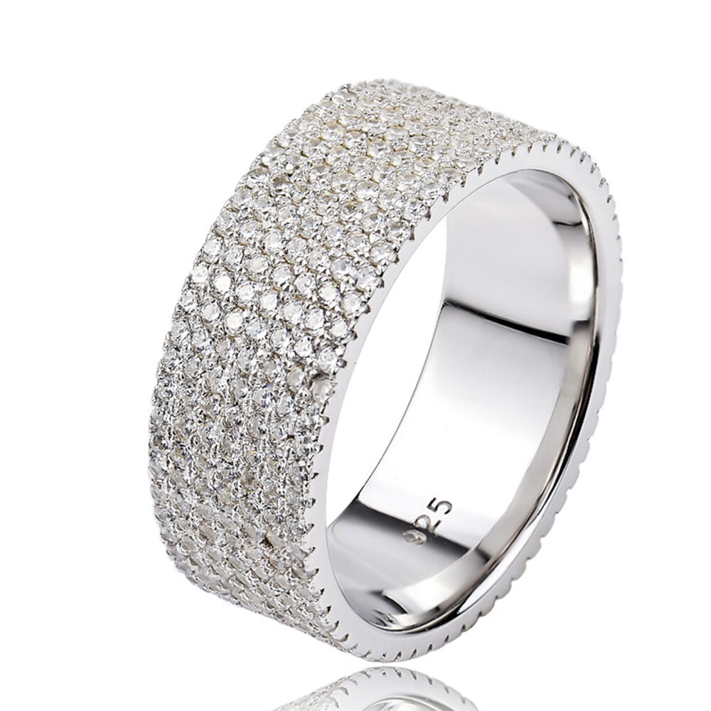 18k Pure 925 Sterling Silver Pave White Cubic Zirconia 7 ...