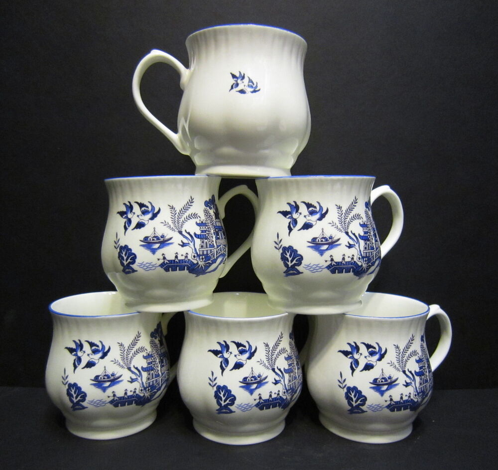 set of 6 willow pattern bulbous english fine bone china mugs by milton china ebay. Black Bedroom Furniture Sets. Home Design Ideas