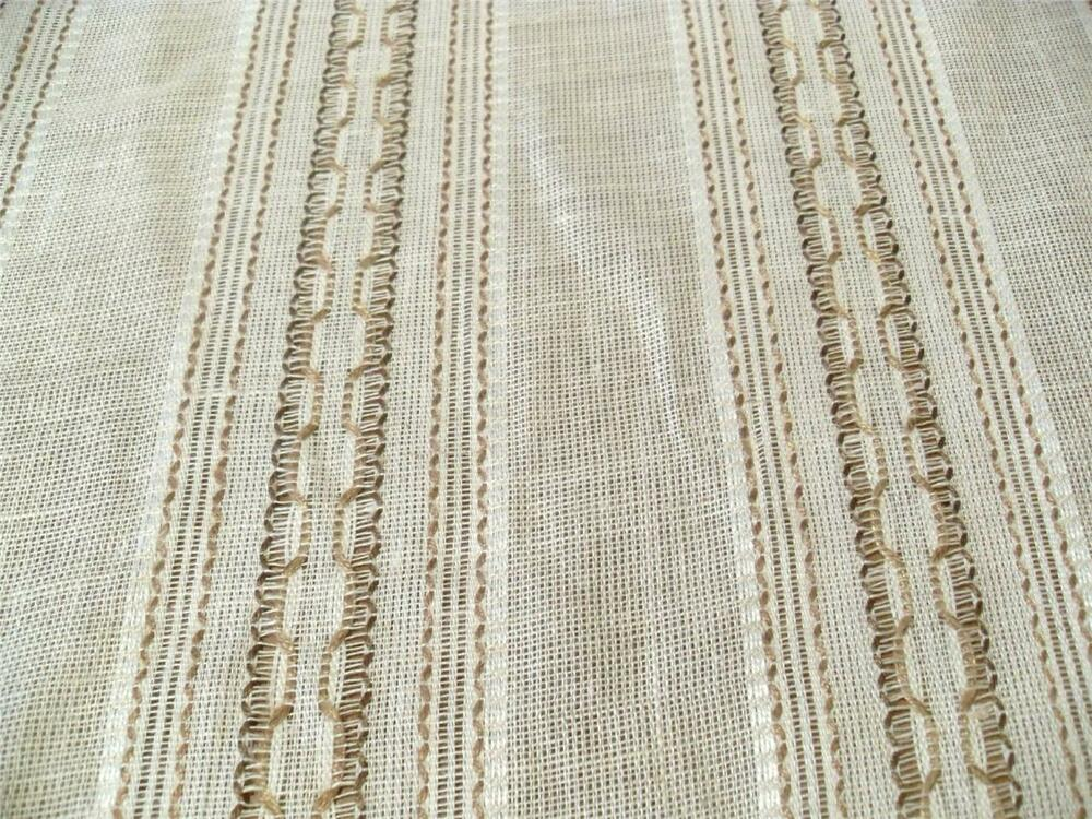 Linen Chainette Open Weave Drapery Fabric New Brown On