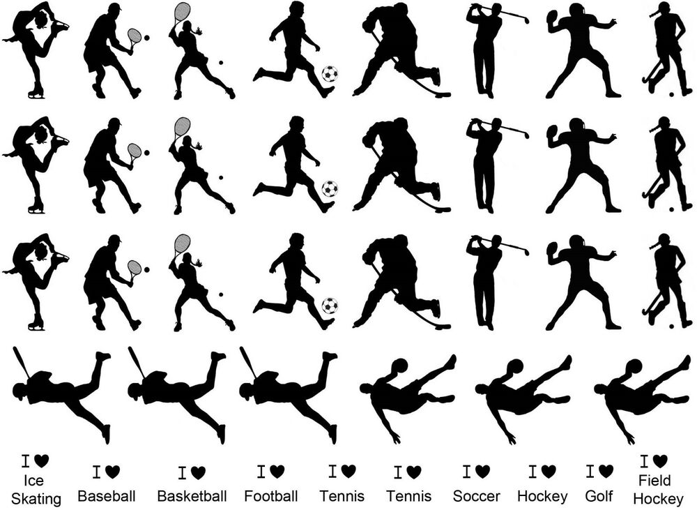 "Dynamic Sports Figures Silhouette: Black 1"" Sports Figures 5""X7"" Card Fused Glass Ceramic"