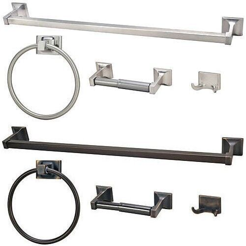4 pc bathroom hardware accessory set 2 finish choices ebay for Bathroom hardware sets