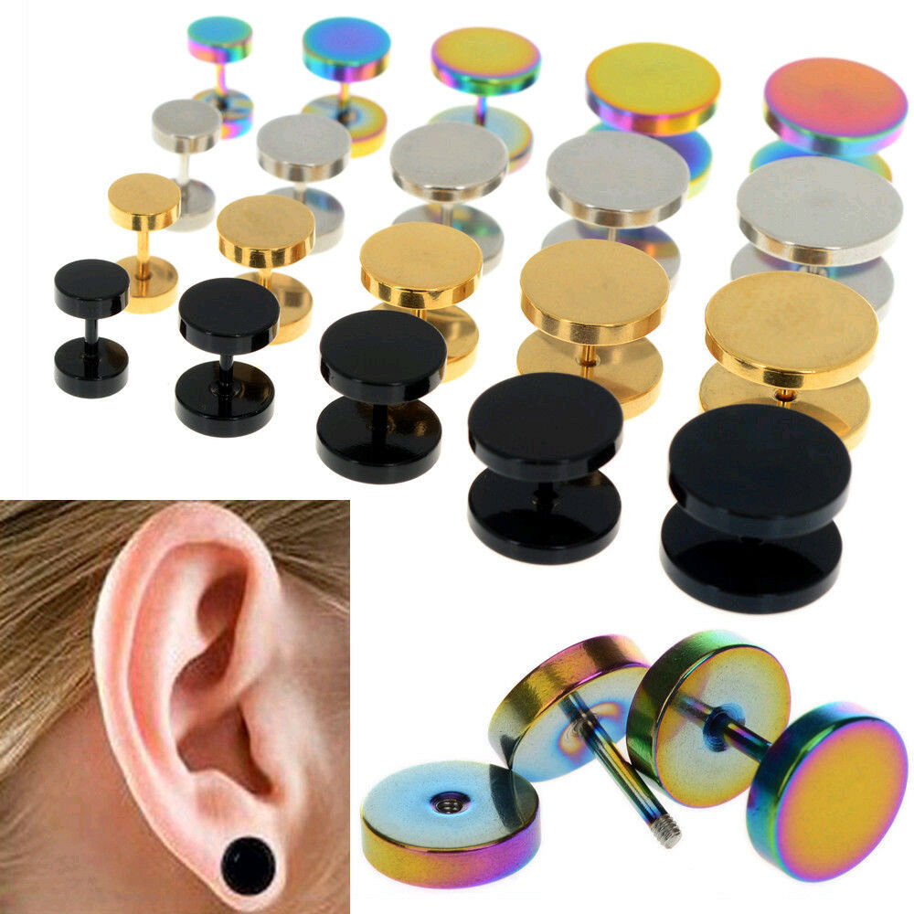2pcs Of Cheater Faux Fake Ear Plugs Gauges Tapers Gold Black