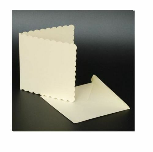 50 Ivory Scalloped 6 Quot X 6 Quot Blank Cards 270gsm Envelopes
