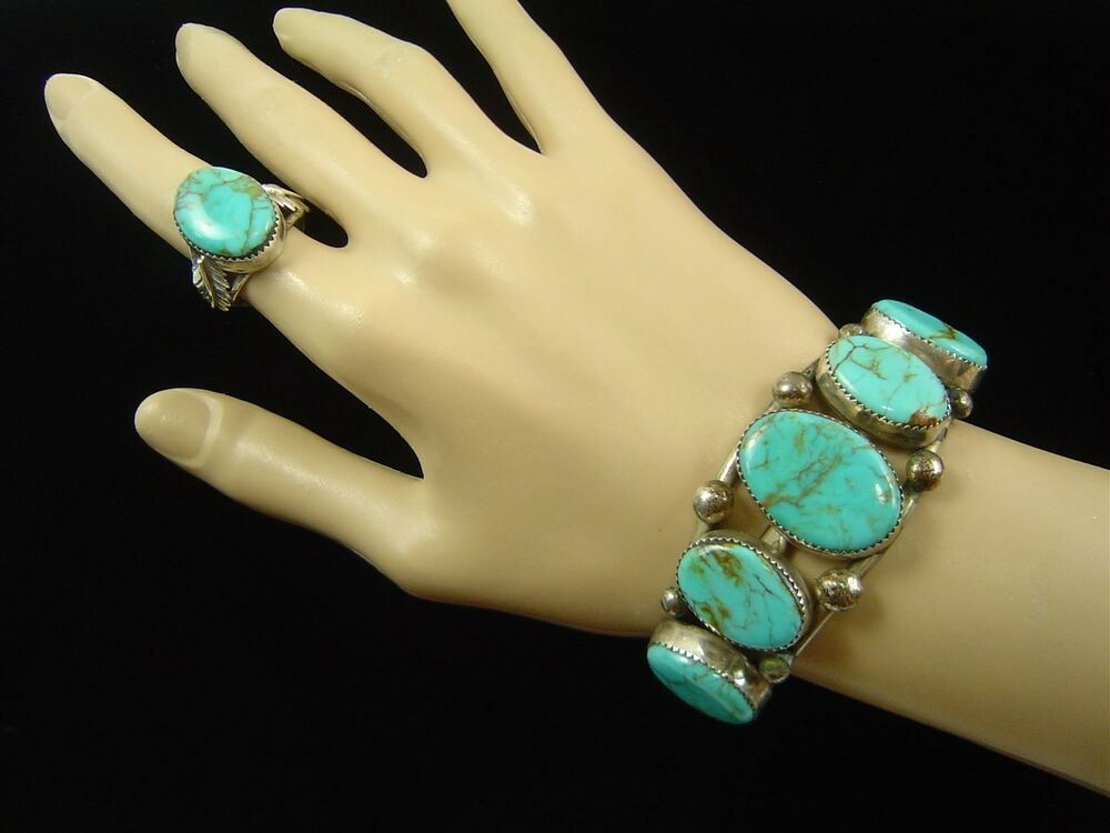 vintage r yellowhair navajo sterling silver turquoise
