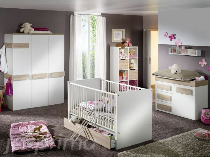 7tlg babyzimmer komplett set baby schrank bett wickelkommode eiche s gerau 08999 ebay. Black Bedroom Furniture Sets. Home Design Ideas