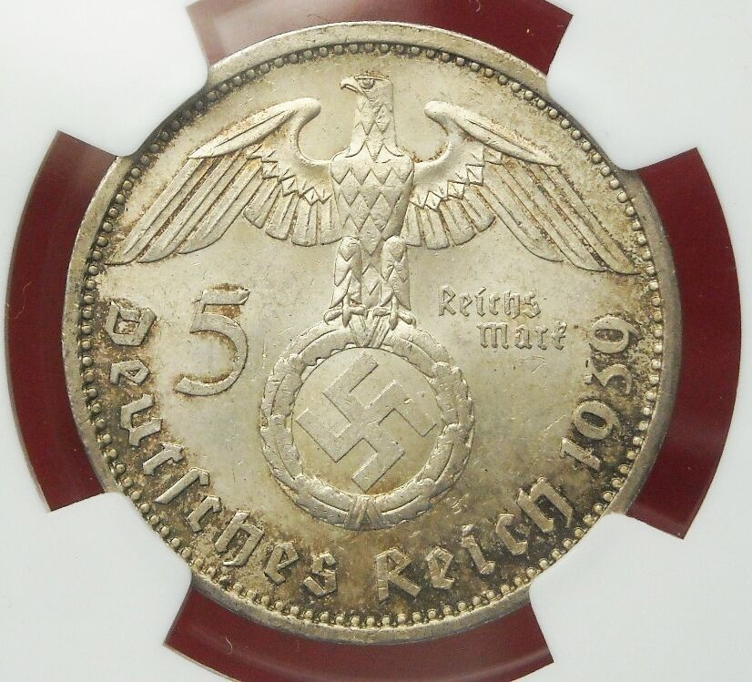 Ngc Ms 63 Nazi Swastika 1939 A 5 Reichsmark Silver Coin