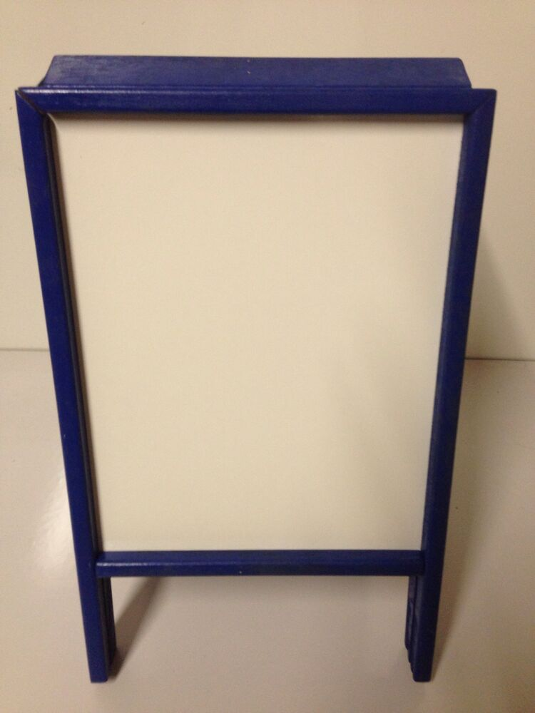sidewalk announcement white board easel 9 x 12 blue hardwood frame double side ebay. Black Bedroom Furniture Sets. Home Design Ideas