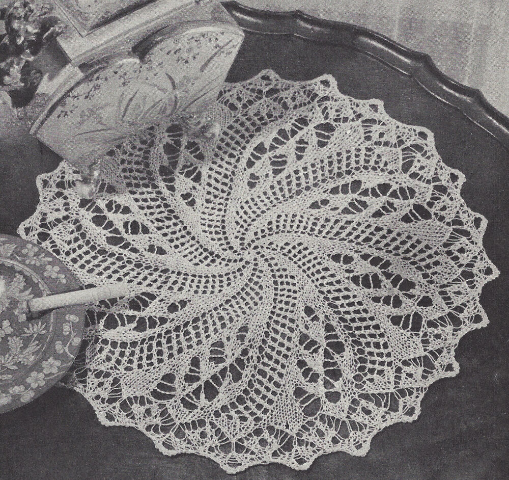 Pattern to Make Vintage Knitted Lace Doily Centerpiece Mat ...