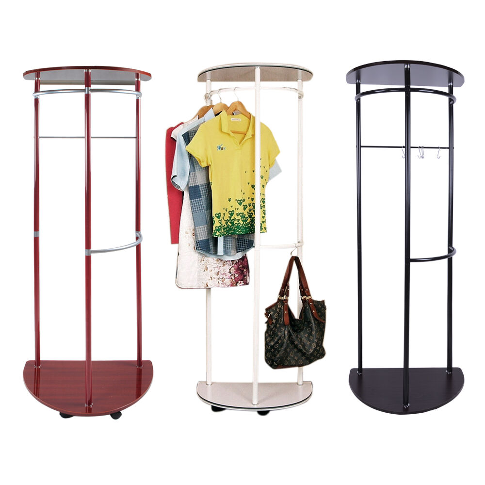 Wooden coat stand hanging clothes rail wall shoe storage