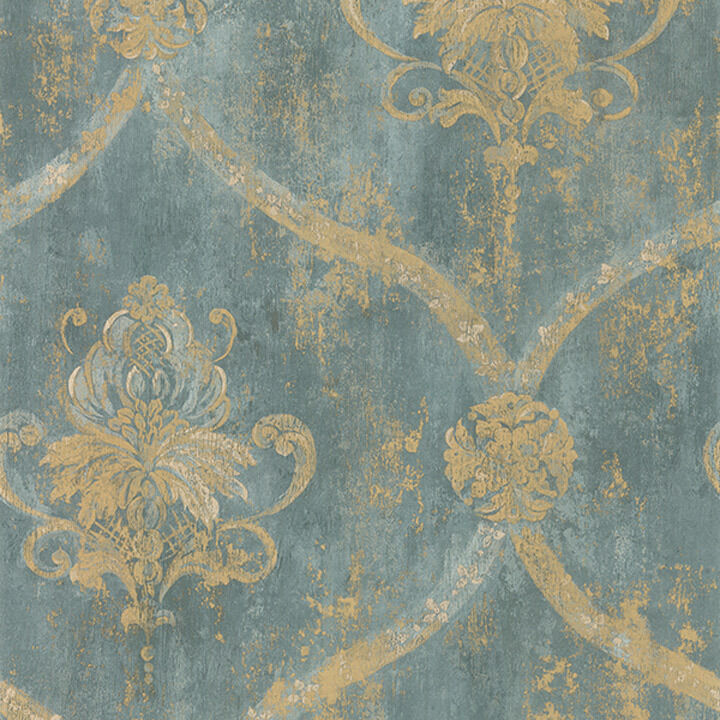 wallpaper sample only 12 inches french faux aqua blue large damask with gold ebay. Black Bedroom Furniture Sets. Home Design Ideas