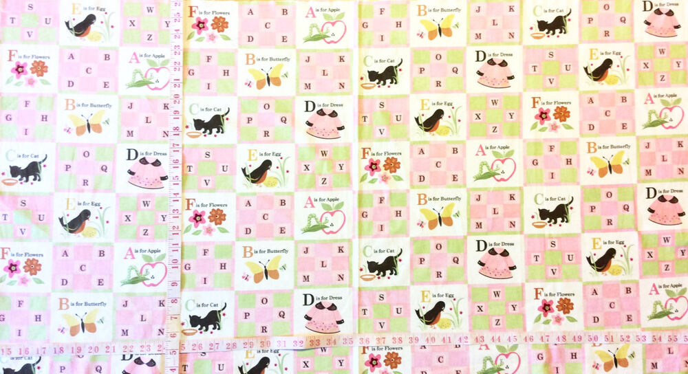 Pnl117 alphabet animals cats birds childrens cotton fabric for Childrens quilt fabric
