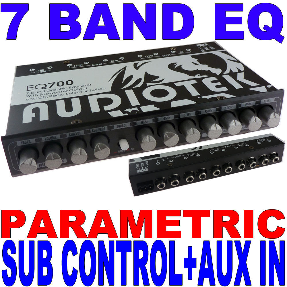 audiotek 7 band parametric equalizer eq car sub control aux input indash eq700 ebay. Black Bedroom Furniture Sets. Home Design Ideas