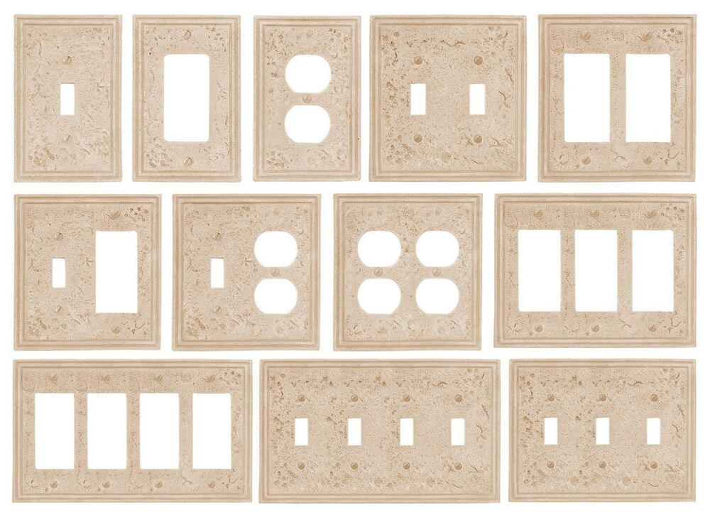 Decorative Wall Plate Cast Stone : Travertine faux textured stone resin switchplate wall