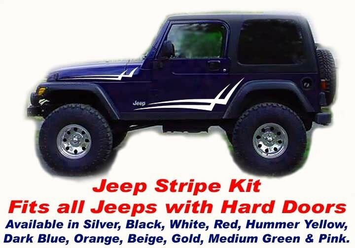 Jeep Renegade Stickers >> Jeep CJ5 TJ Wrangler Renegade Hood Side Door Decals Stripes Double Check Kit | eBay