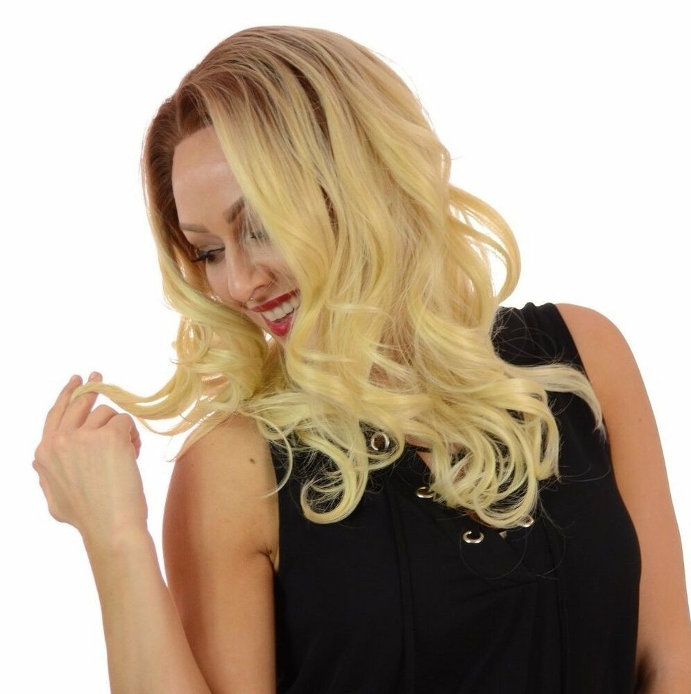 Blair Wig Rooted Blonde Human Hair Blend Lace Front Wig