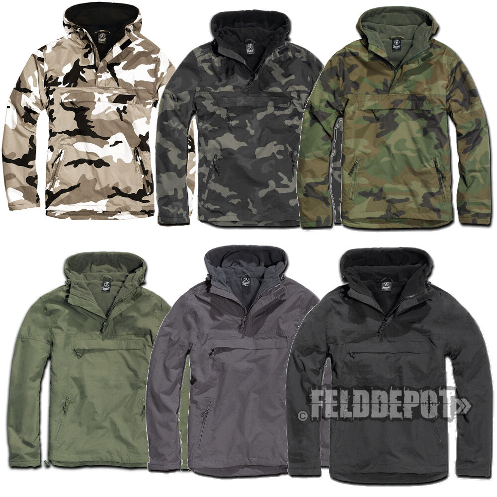 brandit windbreaker outdoor schlupfjacke fleece gef ttert herren regenjacke ebay. Black Bedroom Furniture Sets. Home Design Ideas
