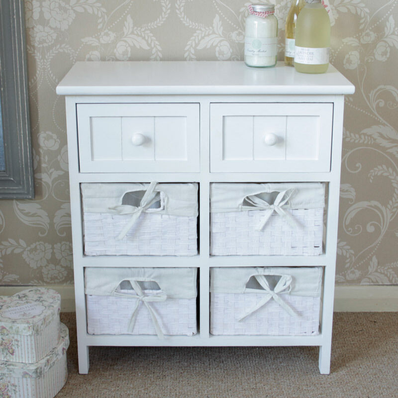 White cabinet storage basket unit drawers hall bathroom bedroom furniture ebay for Bedroom set with storage drawers