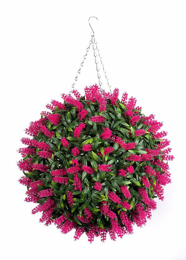 Best Artificial Pink Lavender Ball Hanging Topiary Garden ...
