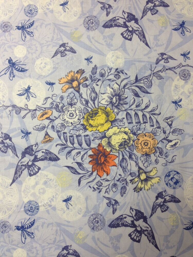 Ff92 chester gardens birds floral blue cotton fabric quilt for Cotton quilting fabric