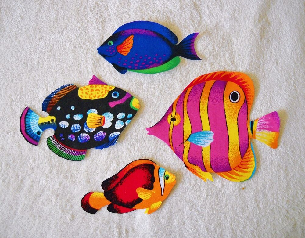 tropical fish large cotton iron on fabric appliques 52 ebay. Black Bedroom Furniture Sets. Home Design Ideas