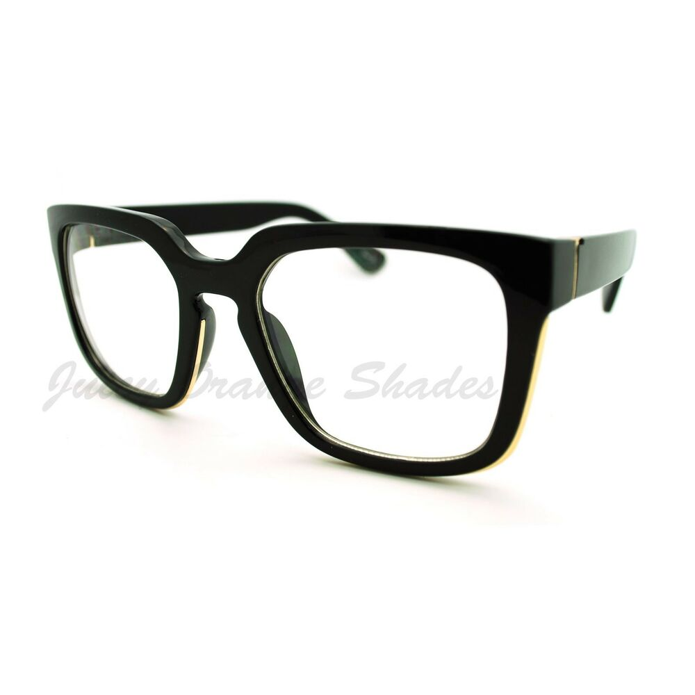 Square Framed Fashion Glasses : Chic Clear Lens Fashion Glasses Thick Square Frame Metal ...