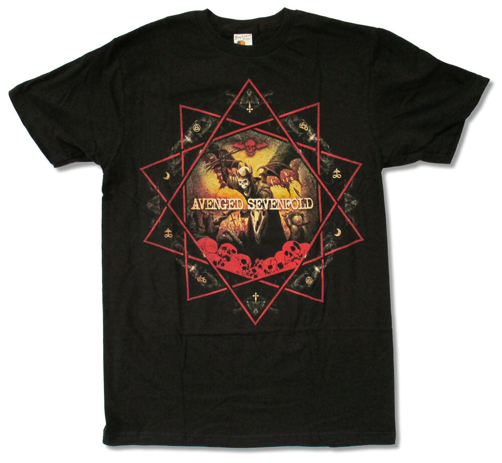 344d258d3 Details about Avenged Sevenfold Decagram Black T Shirt New Official A7X Band  Merch