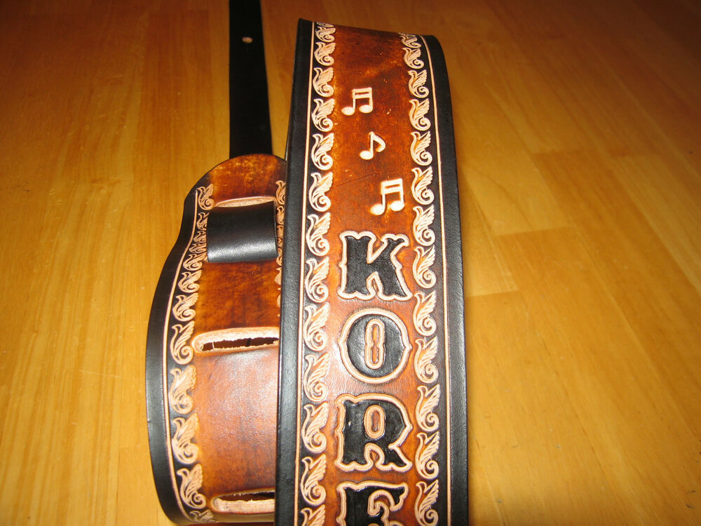 custom made leather guitar strap with your name music notes 2 1 2 inches wide ebay. Black Bedroom Furniture Sets. Home Design Ideas