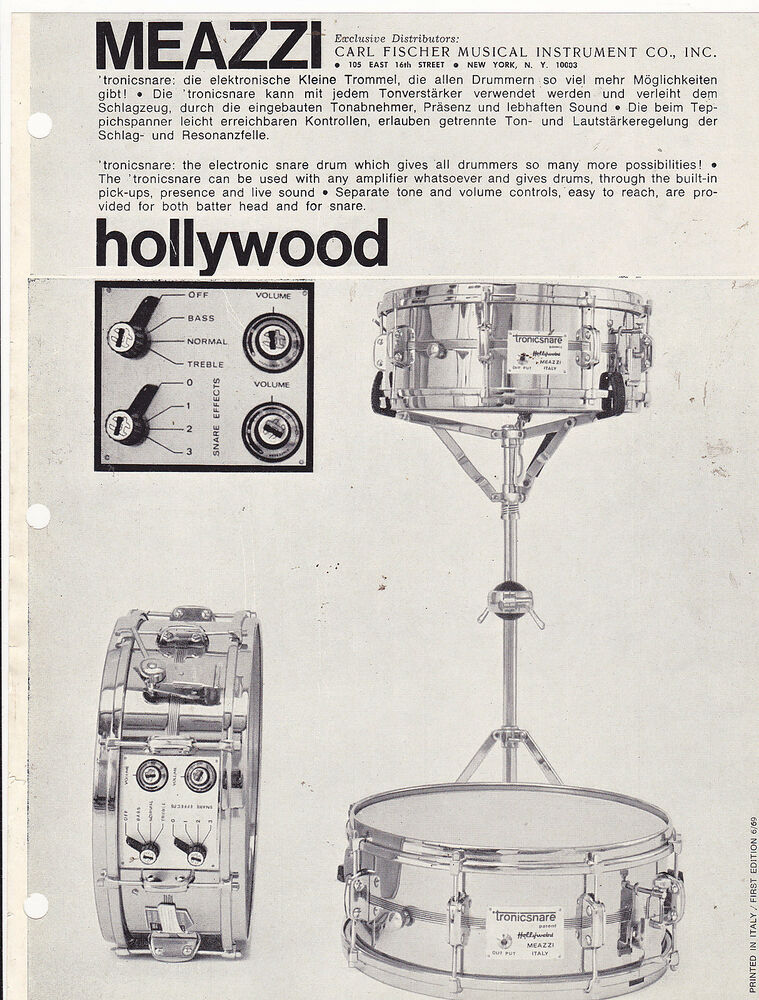 VINTAGE AD SHEET #3351 - 1960s MEAZZI HOLLYWOOD DRUMS | eBay