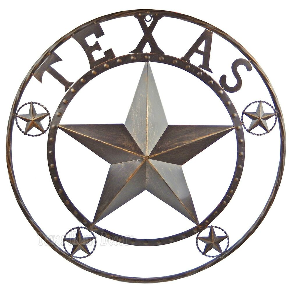 TEXAS LONE STAR Metal Wall Plaque Barn Star Wire Ring ...